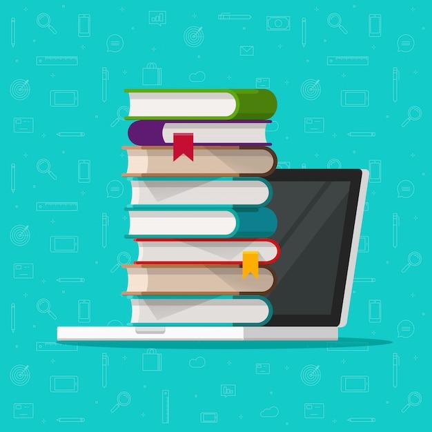 Książki stos lub stos na komputerze przenośnym Premium Wektorów