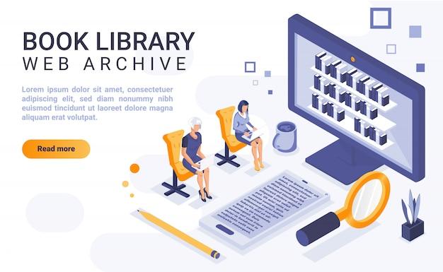Książkowy Biblioteczny Lądowanie Strony Sztandar Z Isometric Ilustracją Premium Wektorów