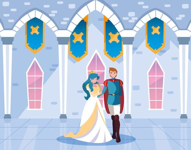 Księżniczka i książę w bajkowej zamku Premium Wektorów