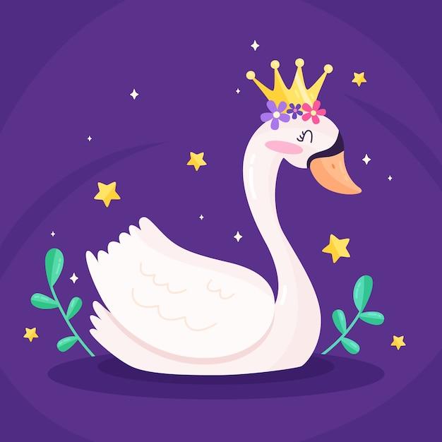 Księżniczka łabędź Z Koroną Darmowych Wektorów