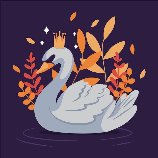 Księżniczka łabędź Z Liśćmi Darmowych Wektorów