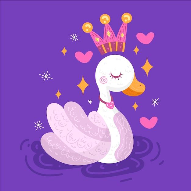 Księżniczka łabędź Z Różowo-złotą Koroną Darmowych Wektorów