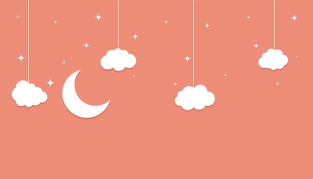 Księżyc Gwiazdy I Chmury Płaski Papier W Stylu Tła Darmowych Wektorów