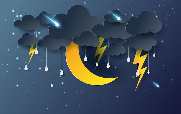Księżyc i gwiazda z mistycznym deszczem nocne niebo Premium Wektorów