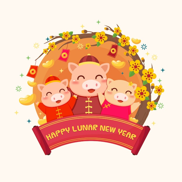 Księżycowy nowy rok rodziny happy pig Premium Wektorów