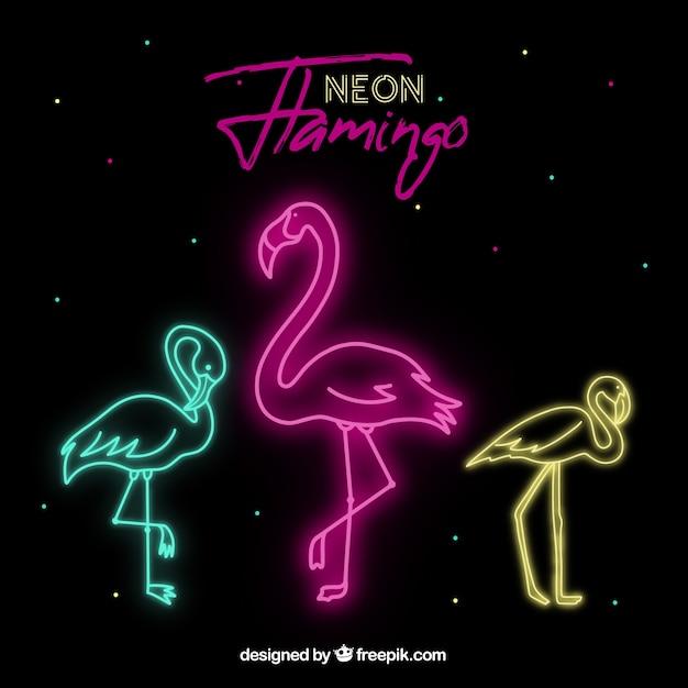 Kształt flaminga z neonowym światłem Darmowych Wektorów