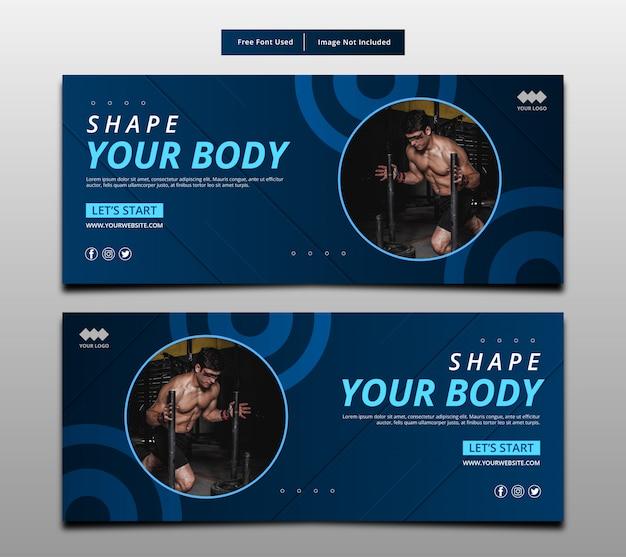 Kształtuj Swoje Ciało, Szablon Układu Graficznego Fitness. Premium Wektorów