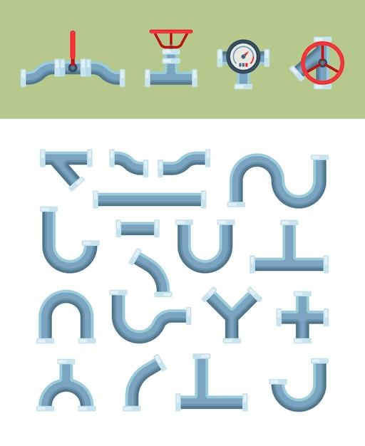 Kształty Rur Z Instalacjami Wodno-kanalizacyjnymi Przeciwzaworowymi Premium Wektorów