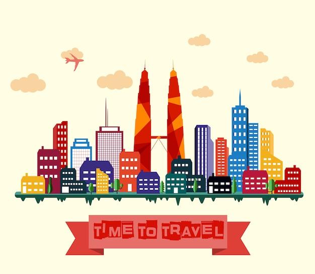 Kuala Lumpur Panoramę Miasta Premium Wektorów