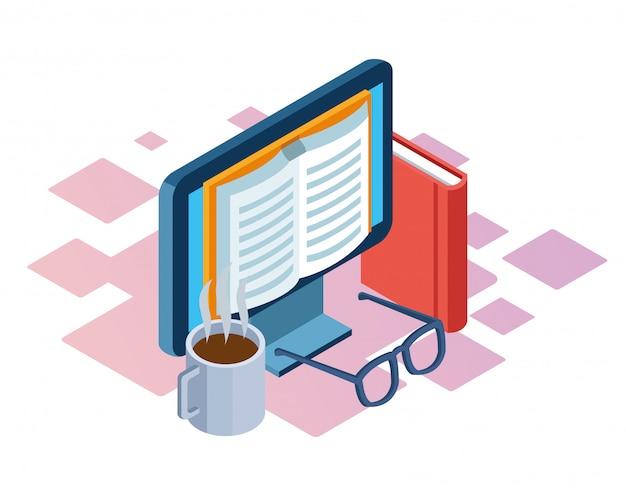 Kubek Do Kawy, Książki I Komputer Z Książką Na Ekranie Na Białym Tle, Kolorowe Izometryczny Premium Wektorów