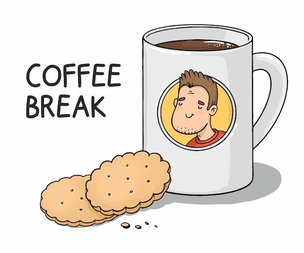 Kubek Kreskówka Przerwa Na Kawę Z Kawą I Ciasteczkami Premium Wektorów