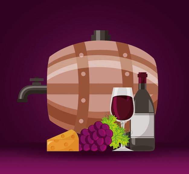 Kubek Wina Kiść świeżych Winogron Splash Darmowych Wektorów