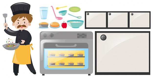 Kucharz i zestaw sprzętu kuchennego Darmowych Wektorów