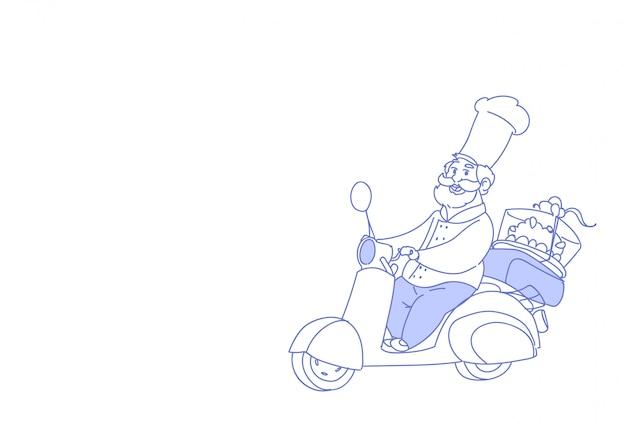 Kucharz kucharz jedzie skuter elektryczny ciasto szybka dostawa Premium Wektorów