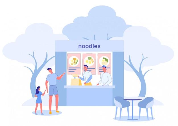 Kucharze W Noodles Fast Food Cafe I Klienci. Premium Wektorów