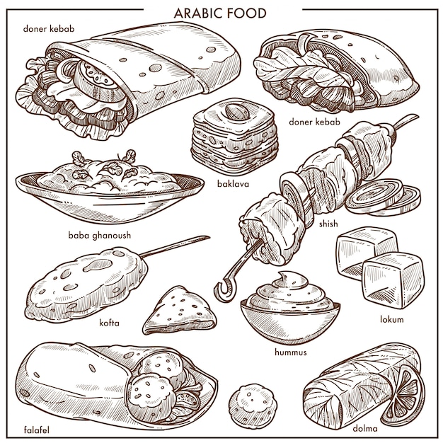 Kuchnia arabska tradycyjne potrawy wektor szkic menu Premium Wektorów