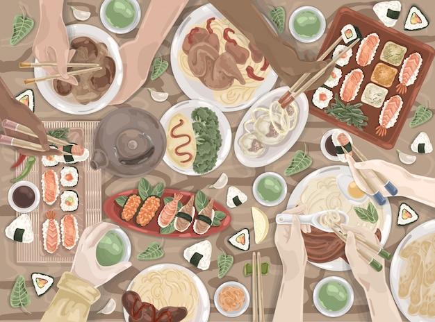 Kuchnia azjatycka, orientalna, japoński obiad, zestaw chińskich posiłków Premium Wektorów