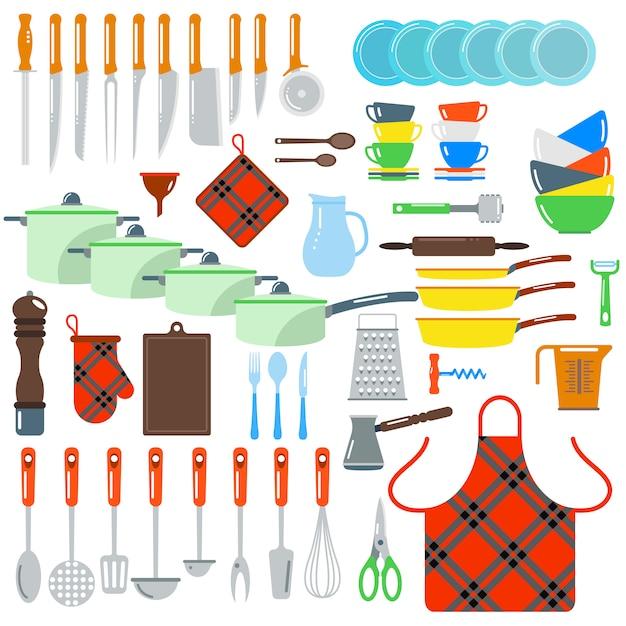 Kuchnia naczynia wektor płaskie elementy na białym tle Premium Wektorów