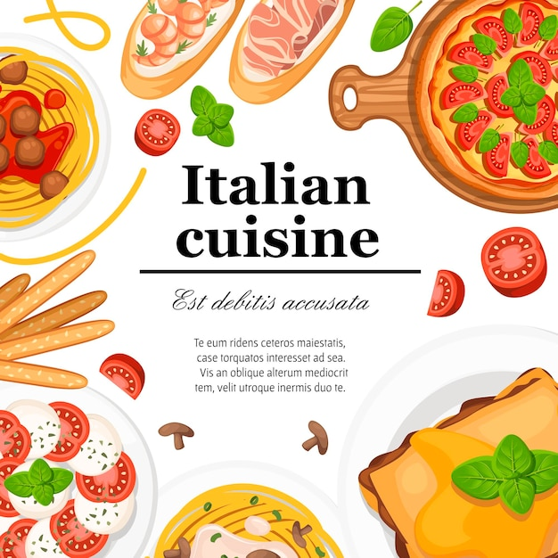 Kuchnia Włoska. Pizza, Spaghetti, Risotto, Bruschetta I Grissini. Płaskie Ilustracja Na Białym Tle. Miejsce Na Tekst Premium Wektorów
