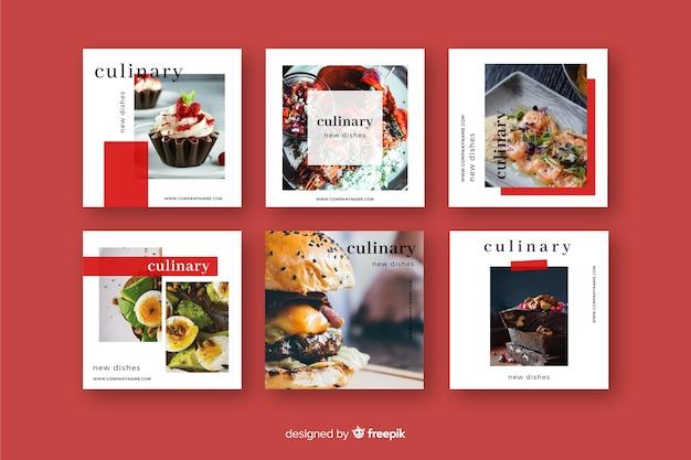 Kulinarny post na instagramie ze zdjęciem Darmowych Wektorów