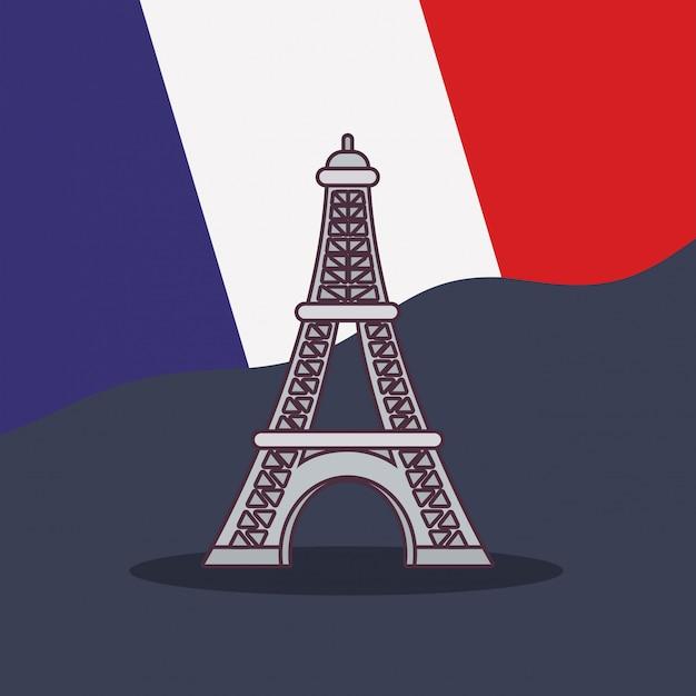 Kultura francji z flagą i wieżą eiffla Premium Wektorów