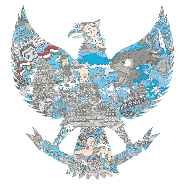 Kultura Indonezyjska W Sylwetce Garuda Premium Wektorów