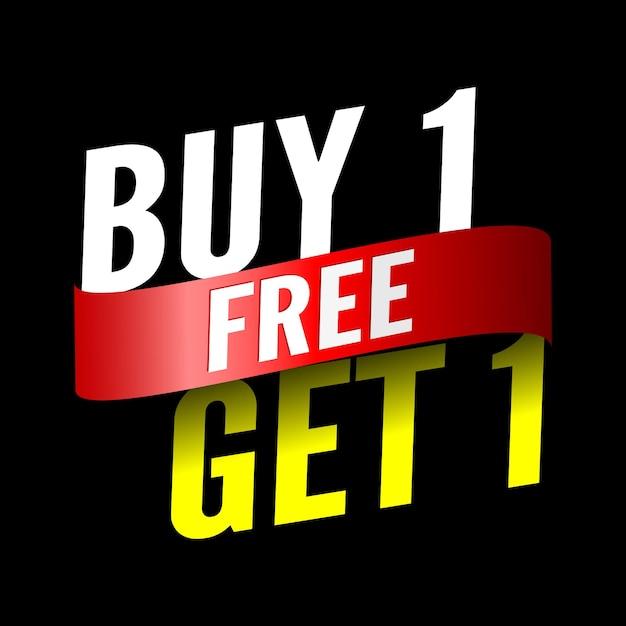 Kup 1, Otrzymaj 1 Darmowy Baner Sprzedaży Z Czerwoną Wstążką. Premium Wektorów