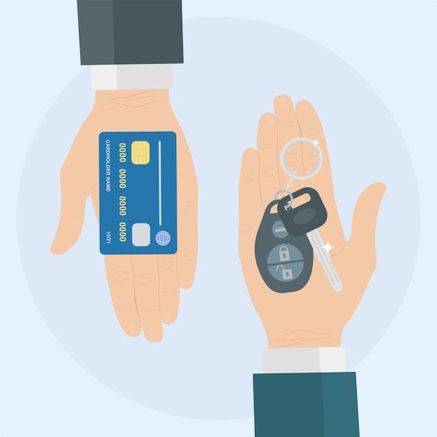 Kup Lub Wypożycz Samochód. Ludzka Ręka Trzyma Klucz Samochodowy I Kartę Kredytową Premium Wektorów