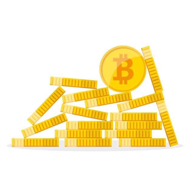 Kupa Złotych Bitcoinów. Ilustracja. Premium Wektorów
