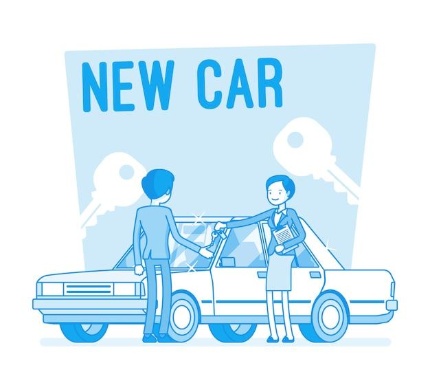 Kupno Nowego Samochodu Premium Wektorów