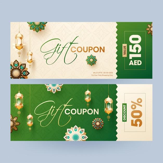 Kupon podarunkowy lub kolekcja vouchera z różnym rabatem Premium Wektorów