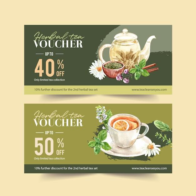 Kupon Ziołowej Herbaty Z Rumianku, Bazylii, Pikantne Liście Akwarela Ilustracja. Darmowych Wektorów
