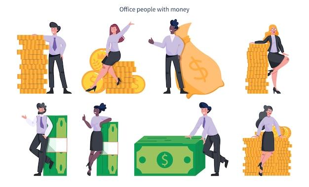 Kupować Ludzi Za Pieniądze. Szczęśliwa Postać Ze Stosem Monet, Stojąca Przy Banknotach I Dużej Torbie Pełnej Gotówki. Dobrobyt Finansowy. Premium Wektorów