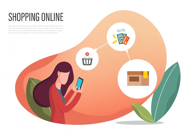 Kupowanie Internetowej Strony Internetowej Banera Online. Premium Wektorów