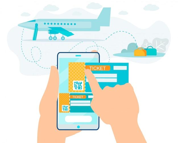 Kupowanie usługi biletowej online na smartfonie cartoon Premium Wektorów