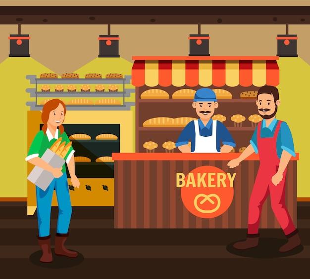 Kupujący i sprzedawca przy piekarni kreskówki ilustracją Premium Wektorów