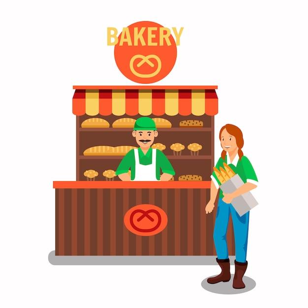 Kupujący I Sprzedawca Przy Piekarni Wektoru Ilustracją Premium Wektorów