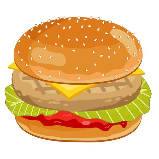 Kurczak burger na białym tle Premium Wektorów