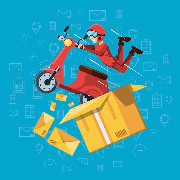 Kurier człowiek usług logistycznych w motocyklu Premium Wektorów