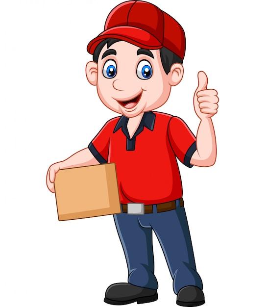 Kurier dostawy kreskówka trzymając pudełka kartonowe Premium Wektorów