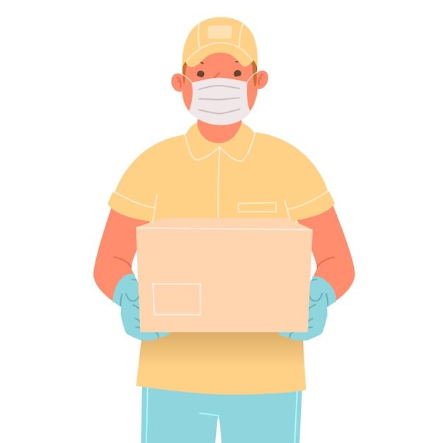 Kurier W Medycznej Masce I Rękawiczkach Z Paczką. Pracownik Usług Dostawy Podczas Wybuchu Koronawirusa Covid-19 Premium Wektorów