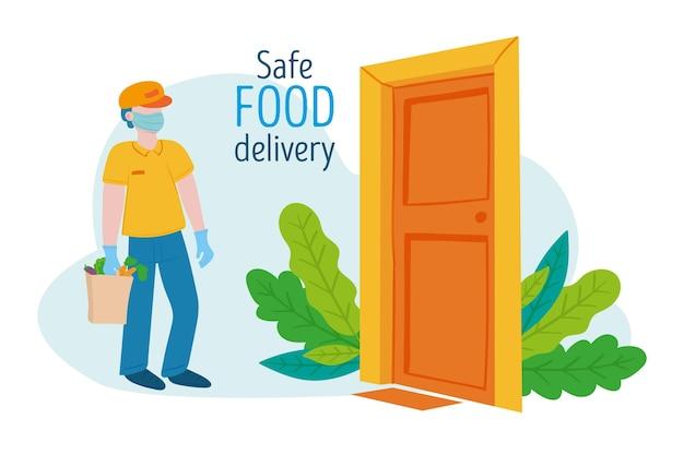 Kurier Z Bezpieczną Dostawą żywności Przy Drzwiach Darmowych Wektorów