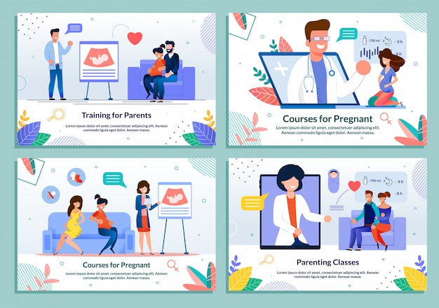 Kurs dla rodziców oczekujących zestawu szablonów porodu Premium Wektorów