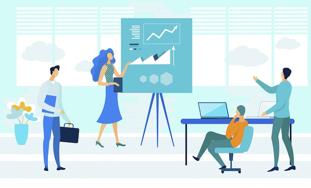 Kursy biznesowe coachingu ilustracji wektorowych płaski Premium Wektorów