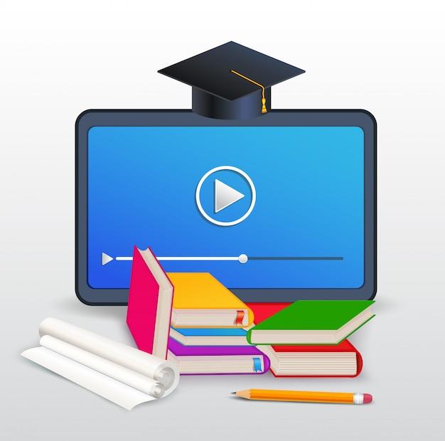 Kursy online, e-learning, edukacja, szkolenie na odległość z tabletem, książkami, podręcznikami, ołówkiem i nakrętką na białym tle Premium Wektorów