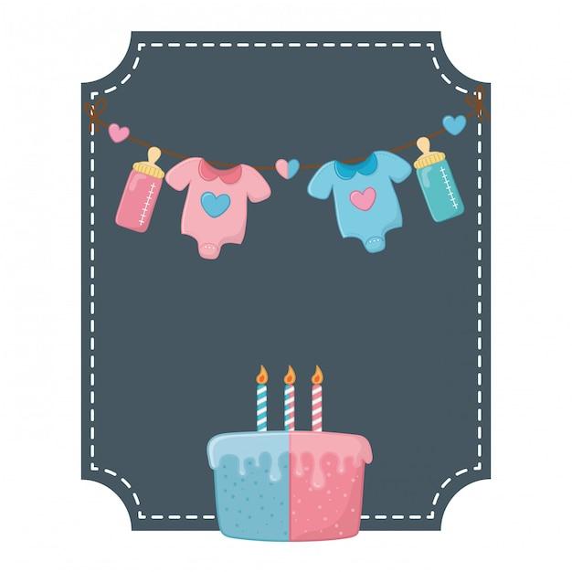 Kwadratowa rama i elementy urodzinowe dla dzieci Premium Wektorów