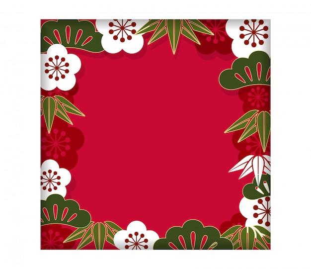 Kwadratowa Rama / Tło Z Tradycyjnym Japończyka Wzorem Dla Nowego Roku Karty, Wektor Il Premium Wektorów
