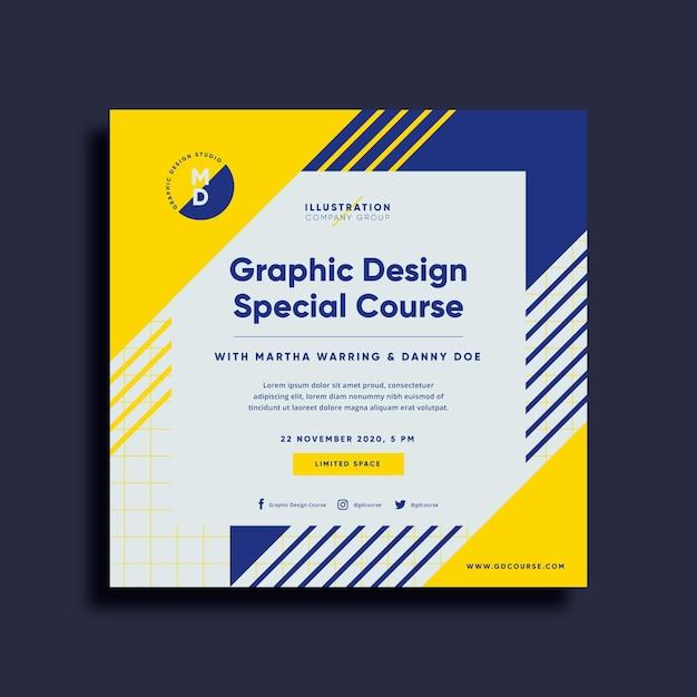 Kwadratowa Ulotka Dotycząca Kursu Projektowania Graficznego Premium Wektorów