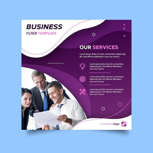 Kwadratowa Ulotka Dotycząca Usług Biznesowych Darmowych Wektorów