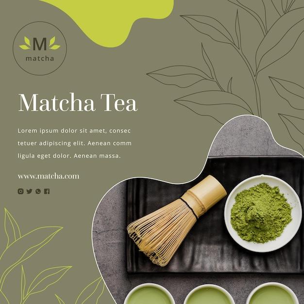 Kwadratowa Ulotka Z Herbatą Matcha Darmowych Wektorów